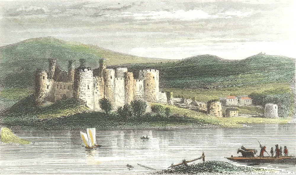 Associate Product WALES. Conwy Castle, Caernarfonshire. DUGDALE 1835 old antique print picture