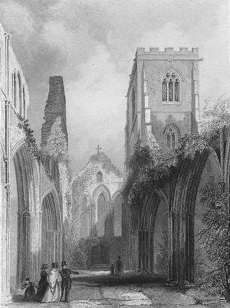 Associate Product WALES. Llandaff Cathedral Nave 1860 old antique vintage print picture