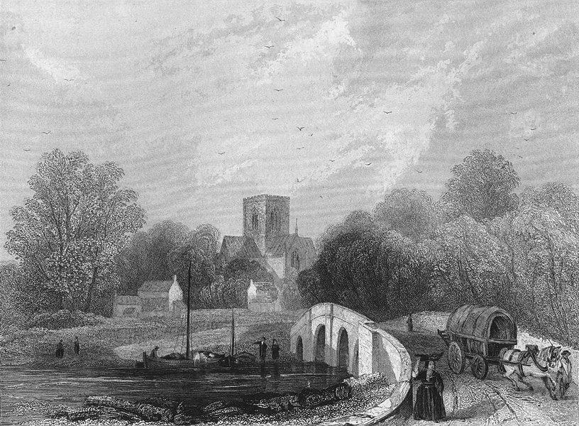 WALES. St Asaph's Cathedral view bridge. Asaph 1860 old antique print picture