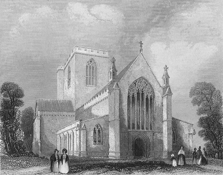 Associate Product WALES. St Asaph's Cathedral west end. Asaph 1860 old antique print picture