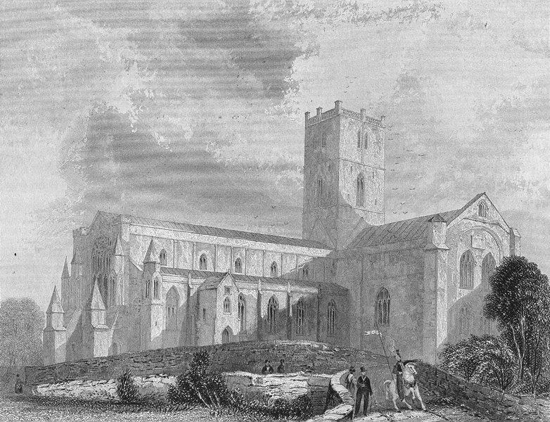 Associate Product WALES. St David's Cathedral SW view 1860 old antique vintage print picture