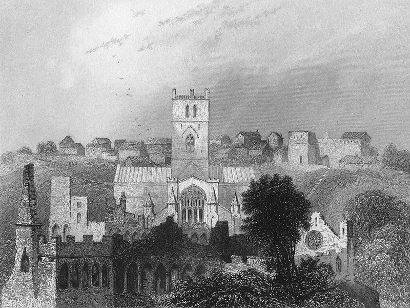Associate Product ST DAVID'S. Cathedral ancient Bishop's Palace 1860 old antique print picture