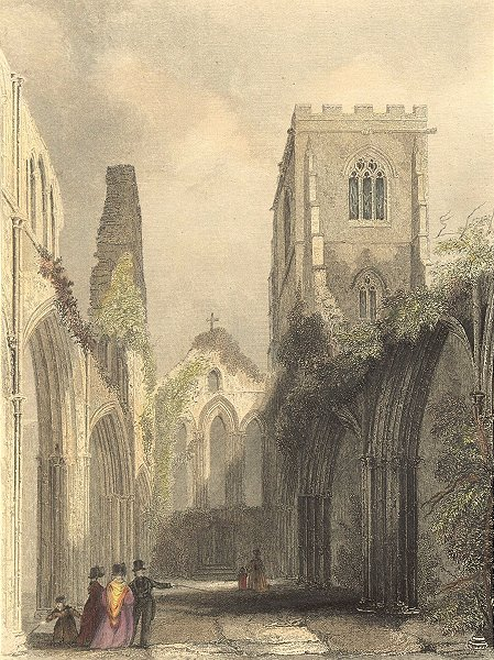 Associate Product WALES. Llandaff Cathedral Nave 1850 old antique vintage print picture