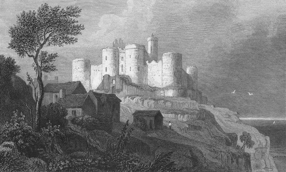 Associate Product WALES. Harlech Castle, Merionethshire. Gastineau c1831 old antique print