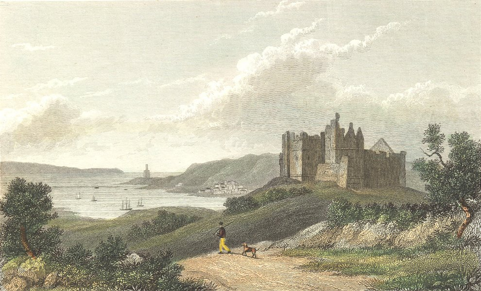 Associate Product WALES. Oystermouth Castle & Harbour. &. Westall 1830 old antique print picture