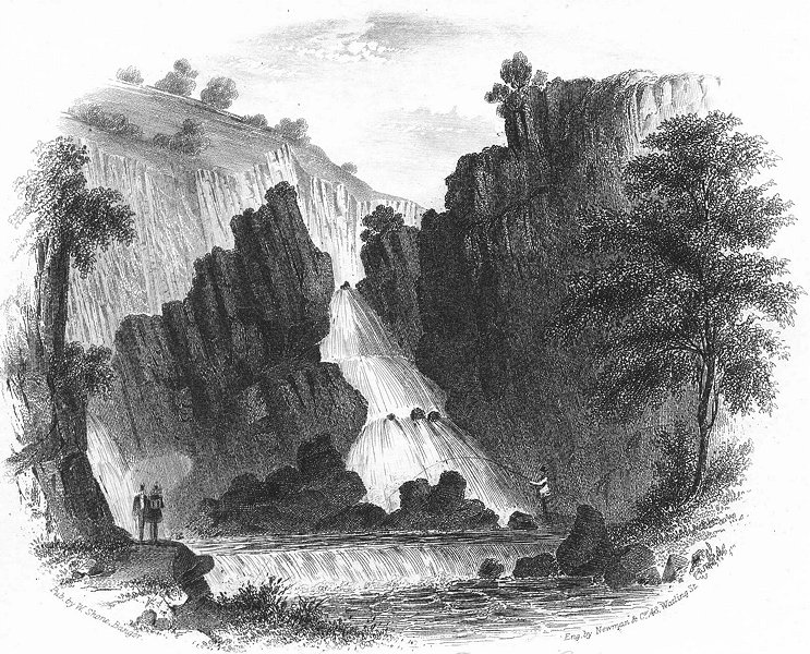 Associate Product WALES. Falls of Conway, Betws Coed. Betts Shone 1850 old antique print picture