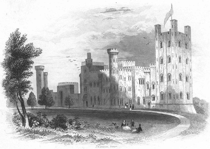 Associate Product WALES. Penrhyn Castle. Newman 1850 old antique vintage print picture