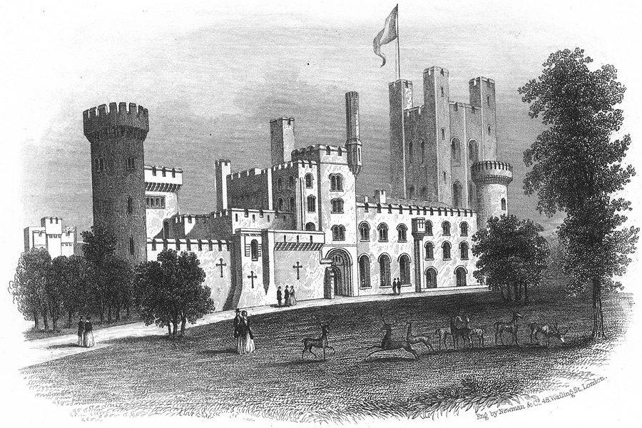 Associate Product WALES. Penrhyn Castle. Newman Deer 1850 old antique vintage print picture