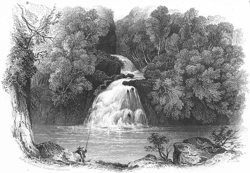 Associate Product WALES. Rhaeadr Du, Tan y Bwlch. Pritchard 1850 old antique print picture