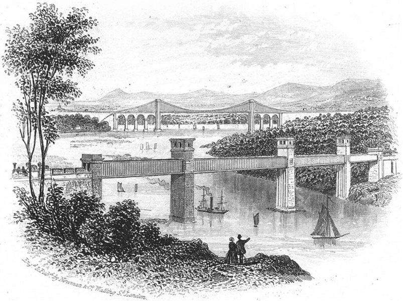 Associate Product WALES. Britannia Tubular & Menai bridges. ships 1850 old antique print picture