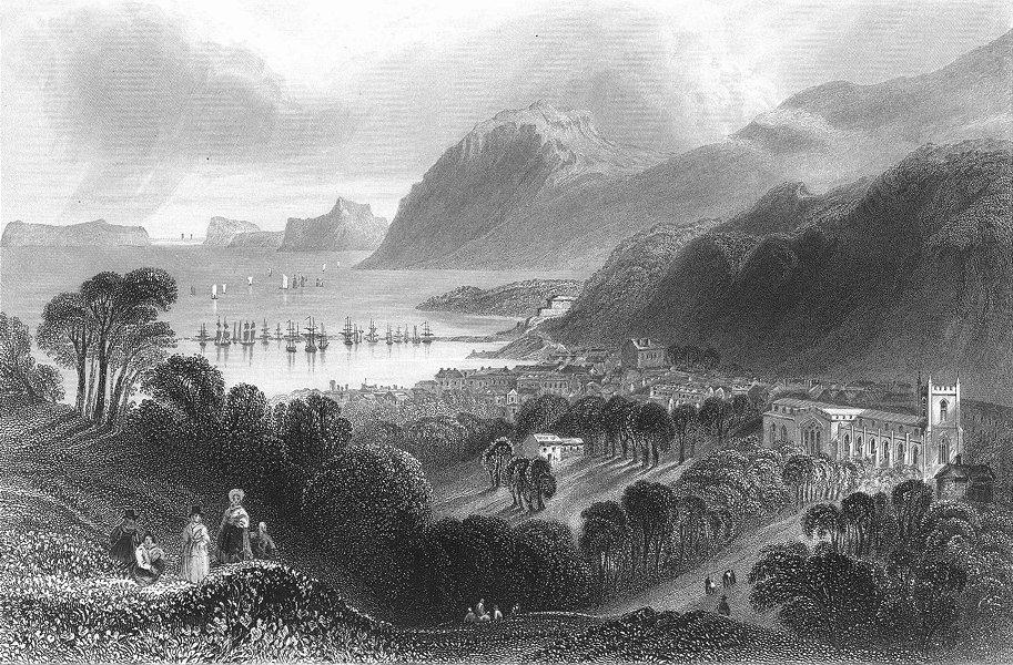 WALES. Ft Penrhyn & Bangor. port &. Bartlett Ship 1842 old antique print