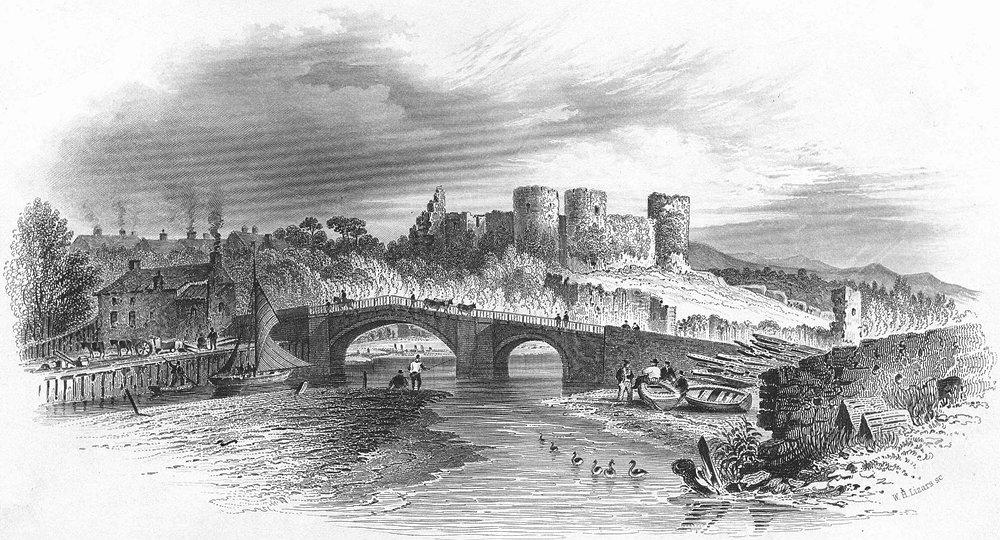 Associate Product WALES. Rhuddlan Castle. Hughes 1856 old antique vintage print picture