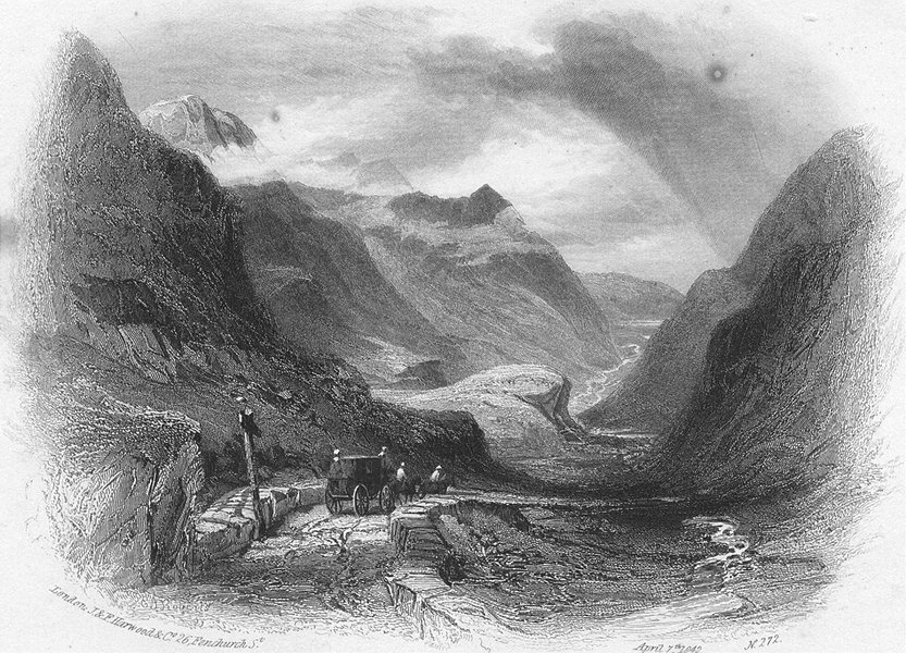 Associate Product WALES. Pass of Llanberis. Harwood. Caennant Mawr 1842 old antique print