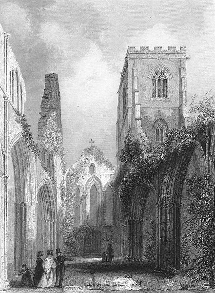 Associate Product WALES. Llandaff Cathedral Nave 1836 old antique vintage print picture