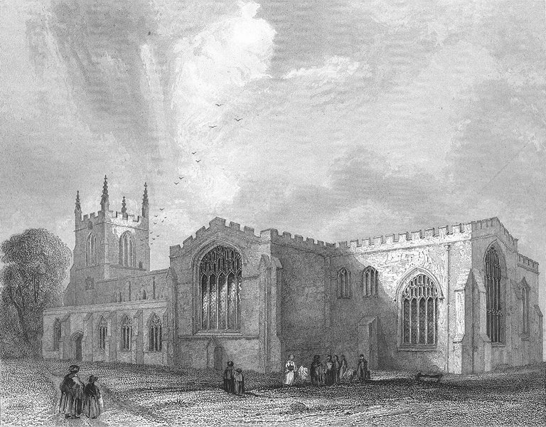 Associate Product WALES. Bangor Cathedral SE view 1838 old antique vintage print picture