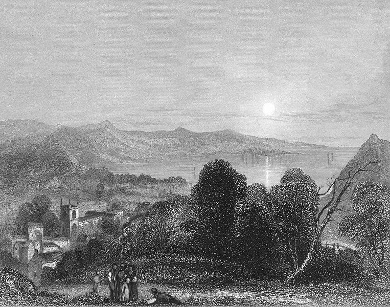 Associate Product WALES. Bangor Cathedral Beaumaris 1838 old antique vintage print picture