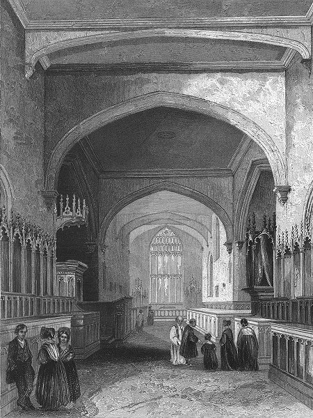 Associate Product WALES. Bangor Cathedral choir 1838 old antique vintage print picture