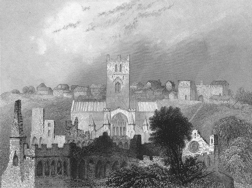 ST DAVID'S. Cathedral ancient Bishop's Palace 1836 old antique print picture