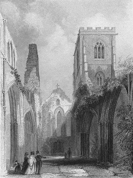 WALES. Llandaff Cathedral Nave 1850 old antique vintage print picture