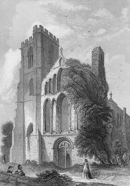 Associate Product WALES. Llandaff Cathedral 1850 old antique vintage print picture