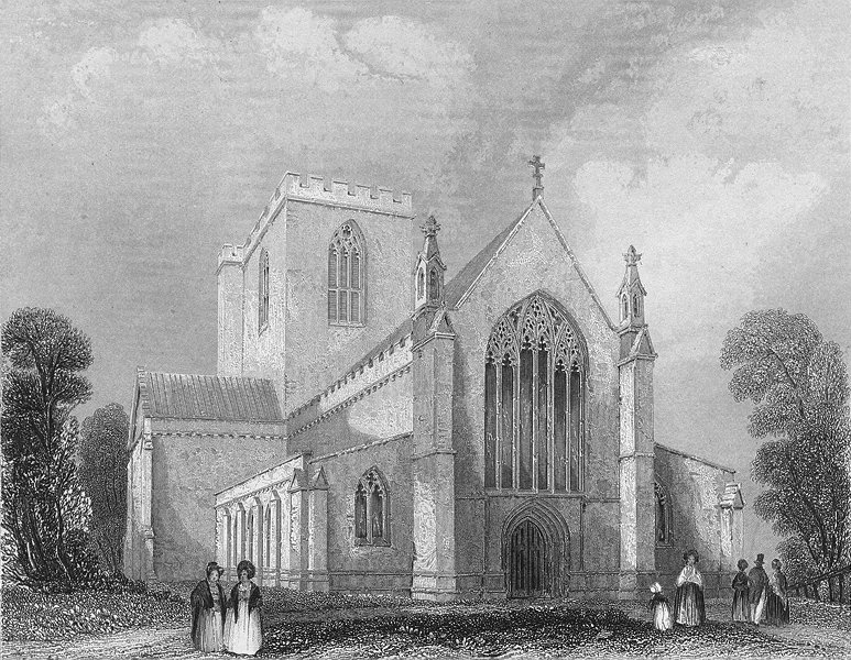 Associate Product WALES. St Asaph's Cathedral west end. Asaph 1850 old antique print picture
