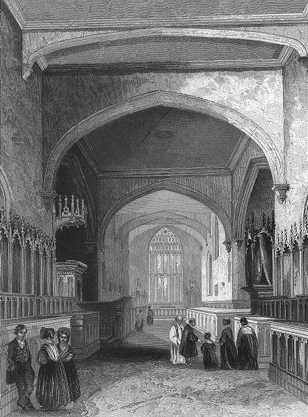 Associate Product WALES. Bangor Cathedral choir 1836 old antique vintage print picture