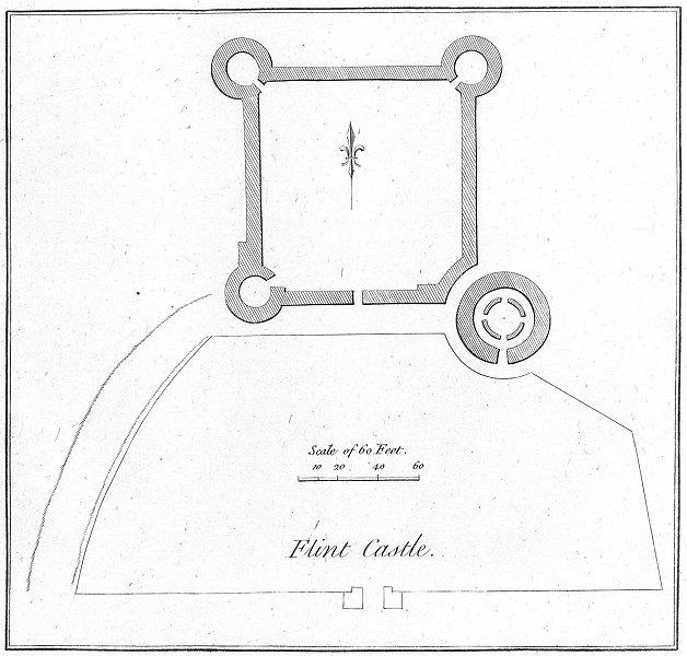 Associate Product WALES. Flint Castle. Grose. 18C 1795 old antique vintage print picture