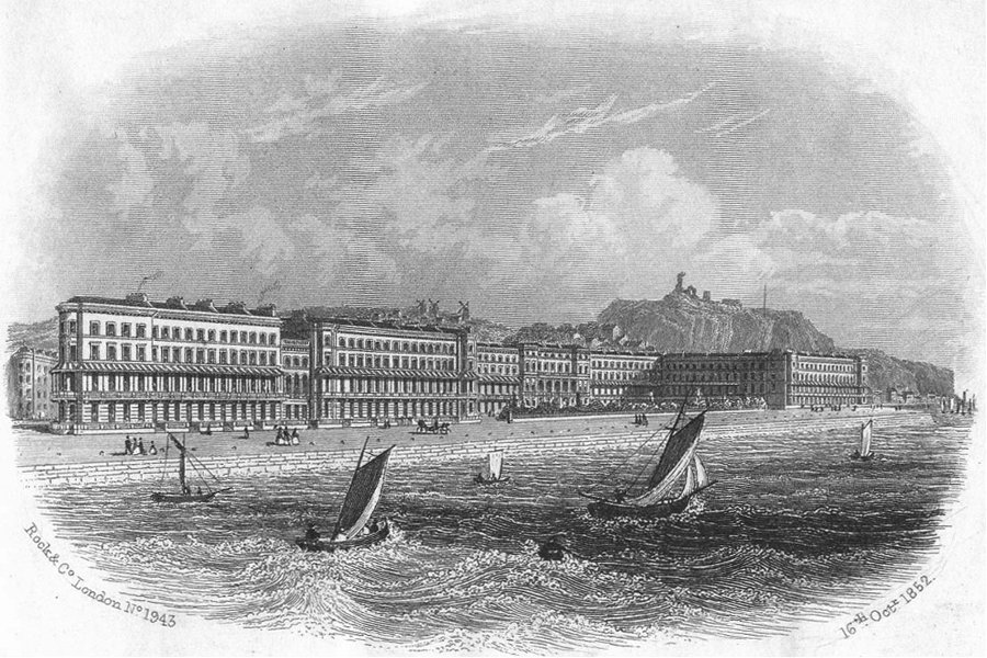 Associate Product SUSSEX. Carlisle Parade, Hastings c1855 old antique vintage print picture