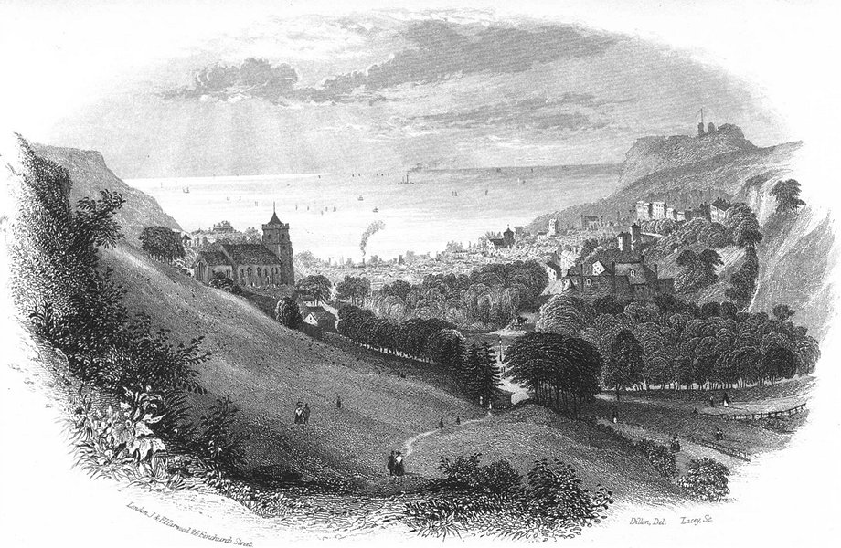 Associate Product SUSSEX. Hastings path Minnis Rock c1855 old antique vintage print picture