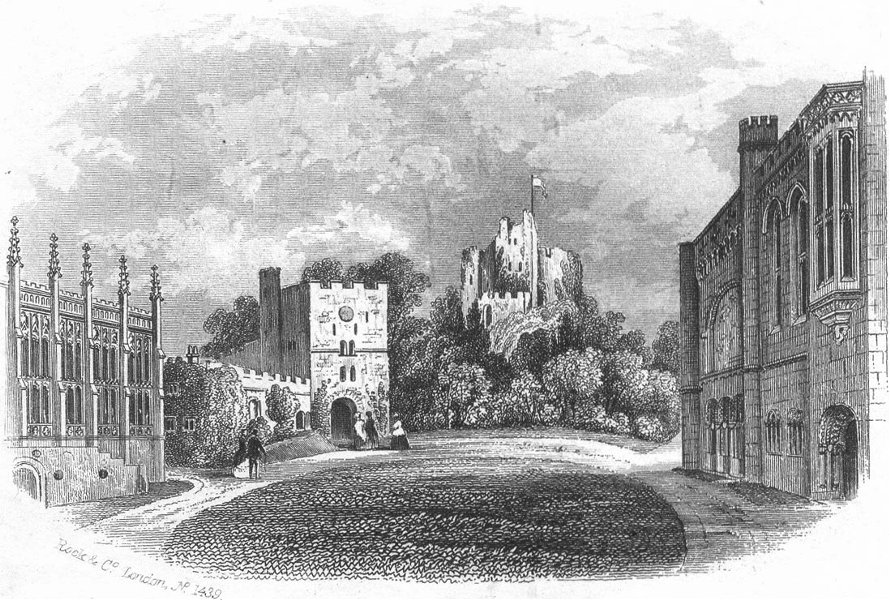 SUSSEX. Arundel Castle(Keep & Quad) c1855 old antique vintage print picture