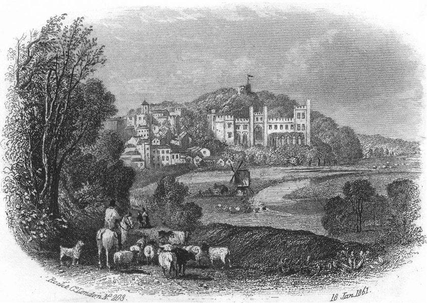 Associate Product SUSSEX. Arundel Castle c1855 old antique vintage print picture