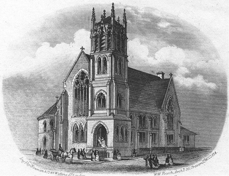 Associate Product SUSSEX. New Wesleyan Methodist Chapel, Hastings c1855 old antique print