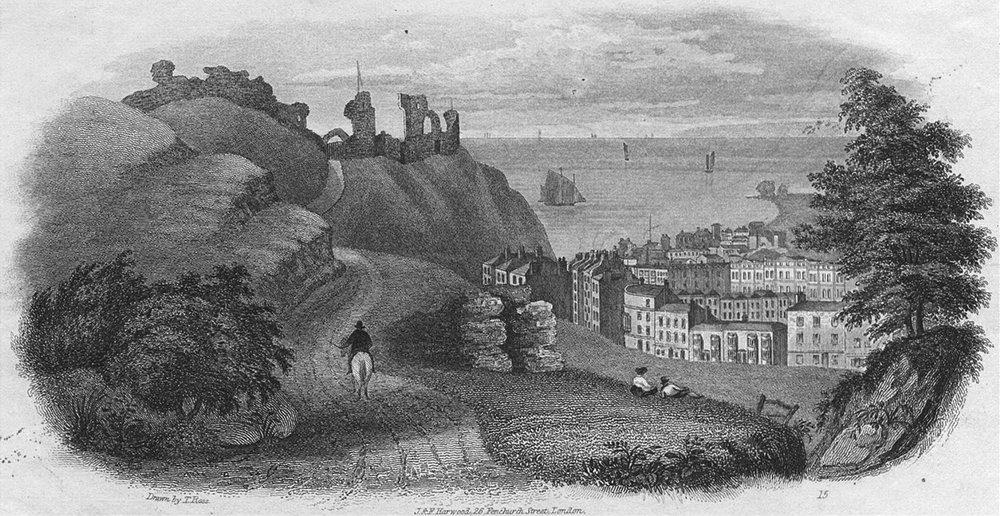 Associate Product SUSSEX. Hastings Castle c1855 old antique vintage print picture