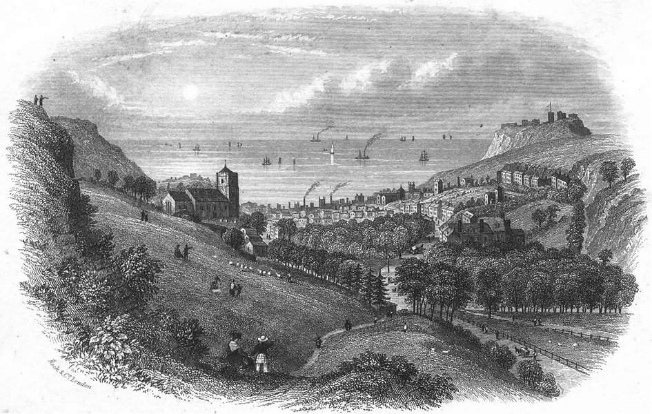 Associate Product SUSSEX. Hastings, from Minnis Rock c1855 old antique vintage print picture