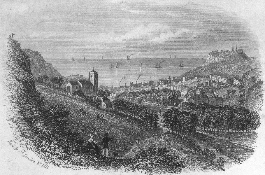 Associate Product SUSSEX. Hastings from Minnis Rock c1855 old antique vintage print picture