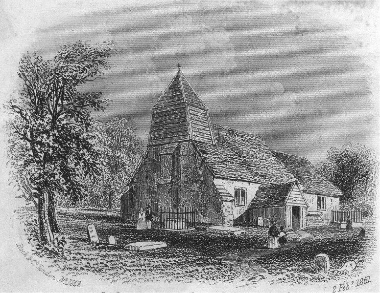 SUSSEX. Hollington Church, Hastings c1855 old antique vintage print picture