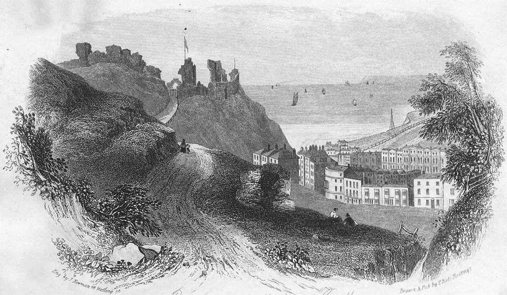 Associate Product SUSSEX. Entry of Hastings Castle c1855 old antique vintage print picture