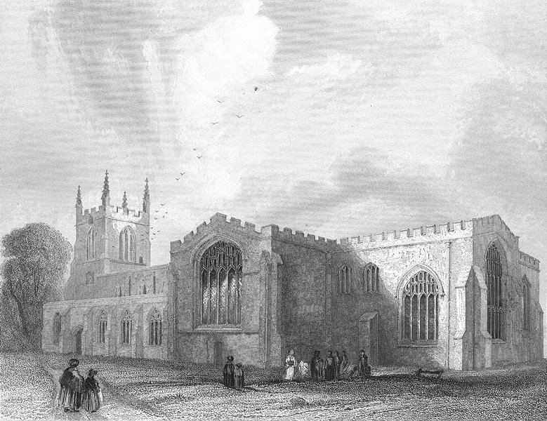 Associate Product WALES. Bangor Cathedral SE view 1860 old antique vintage print picture