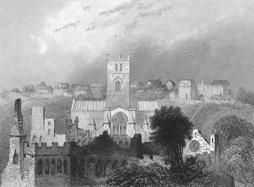Associate Product ST DAVID'S. Cathedral ancient Bishop's Palace 1838 old antique print picture
