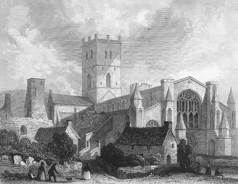 Associate Product WALES. St David's Cathedral NW view 1838 old antique vintage print picture