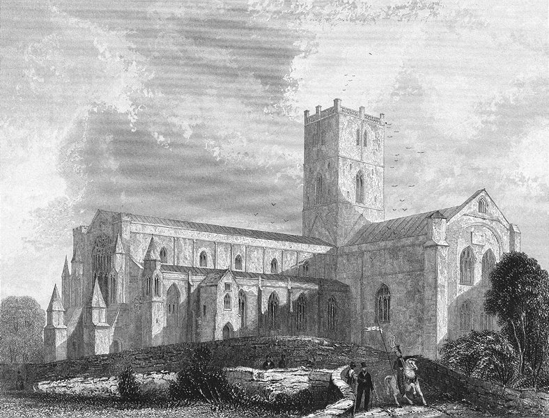 Associate Product WALES. St David's Cathedral SW view 1838 old antique vintage print picture