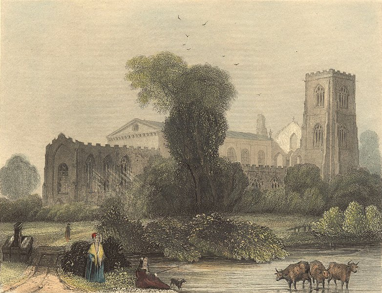 Associate Product WALES. Llandaff Cathedral NE view 1850 old antique vintage print picture