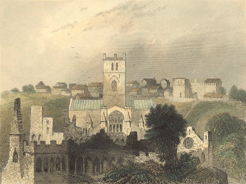 ST DAVID'S. Cathedral ancient Bishop's Palace 1850 old antique print picture
