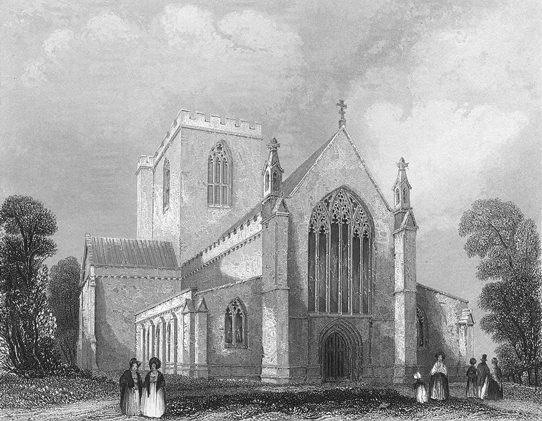 Associate Product WALES. St Asaph's Cathedral west end. Asaph 1836 old antique print picture