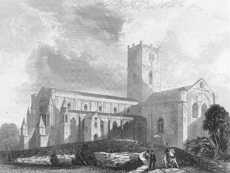 Associate Product WALES. St David's Cathedral SW view 1836 old antique vintage print picture