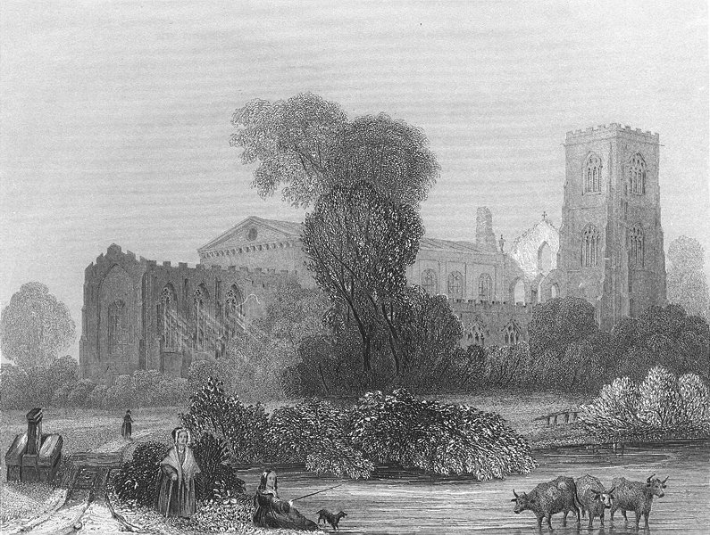 Associate Product WALES. Llandaff Cathedral NE view 1836 old antique vintage print picture