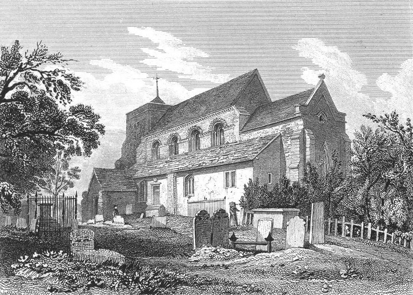 Associate Product SUSSEX. Steyning Church. Excursions 1822 old antique vintage print picture