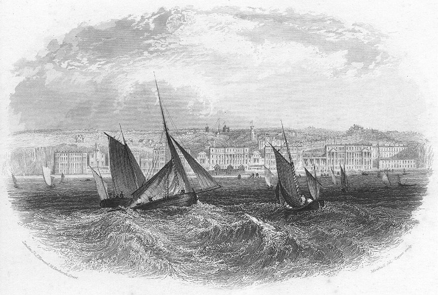 Associate Product SUSSEX. St Leonards sea. Harwood 1840 old antique vintage print picture