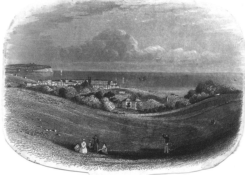 SUSSEX. Eastbourne, links 1860 old antique vintage print picture