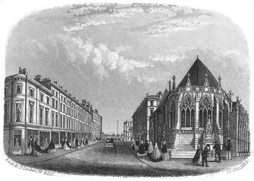 Associate Product HASTINGS. Robertson St & Holy Trinity Church c1855 old antique print picture